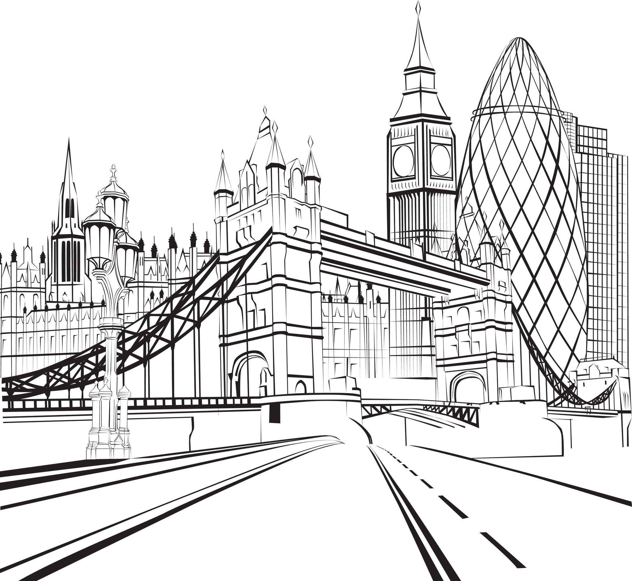 Coloriage De Londres Tower Bridge Big Ben Et La City