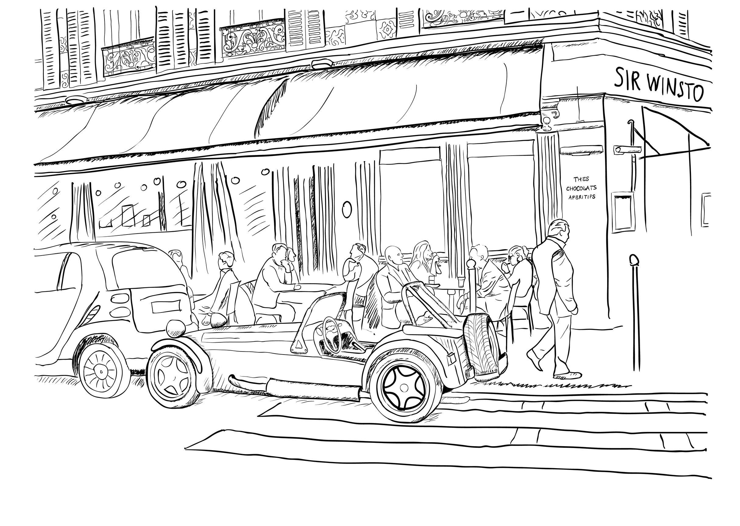 Coloriage Adulte Voiture.Coloriage Pour Adulte D Un Bar De Paris Et Voiture Retro