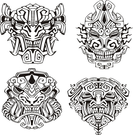 coloriage masques monstres azteques