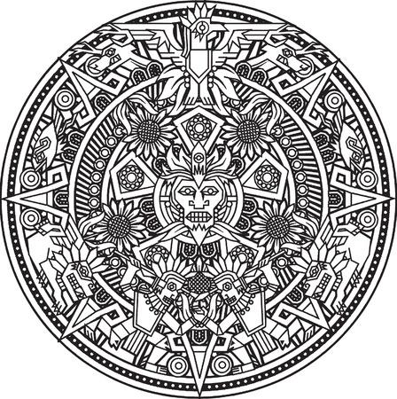 coloriage aztec soleil