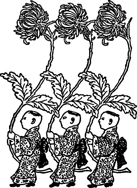 Coloriage Chinois Et Chrysantheme