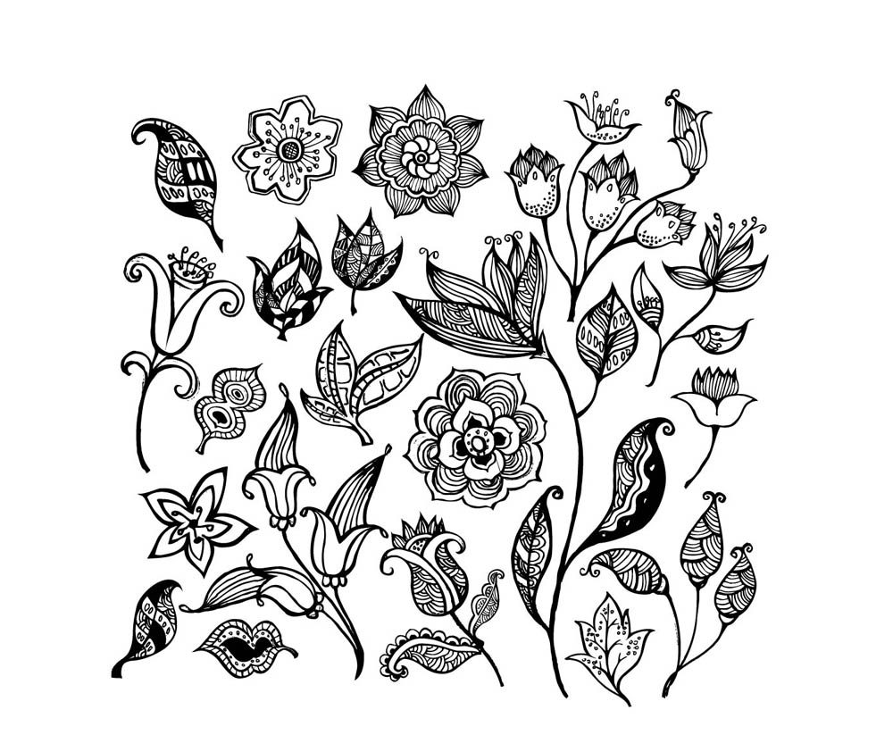 Vector Line Drawing Flower Pattern : Coloriage fleurs multiples