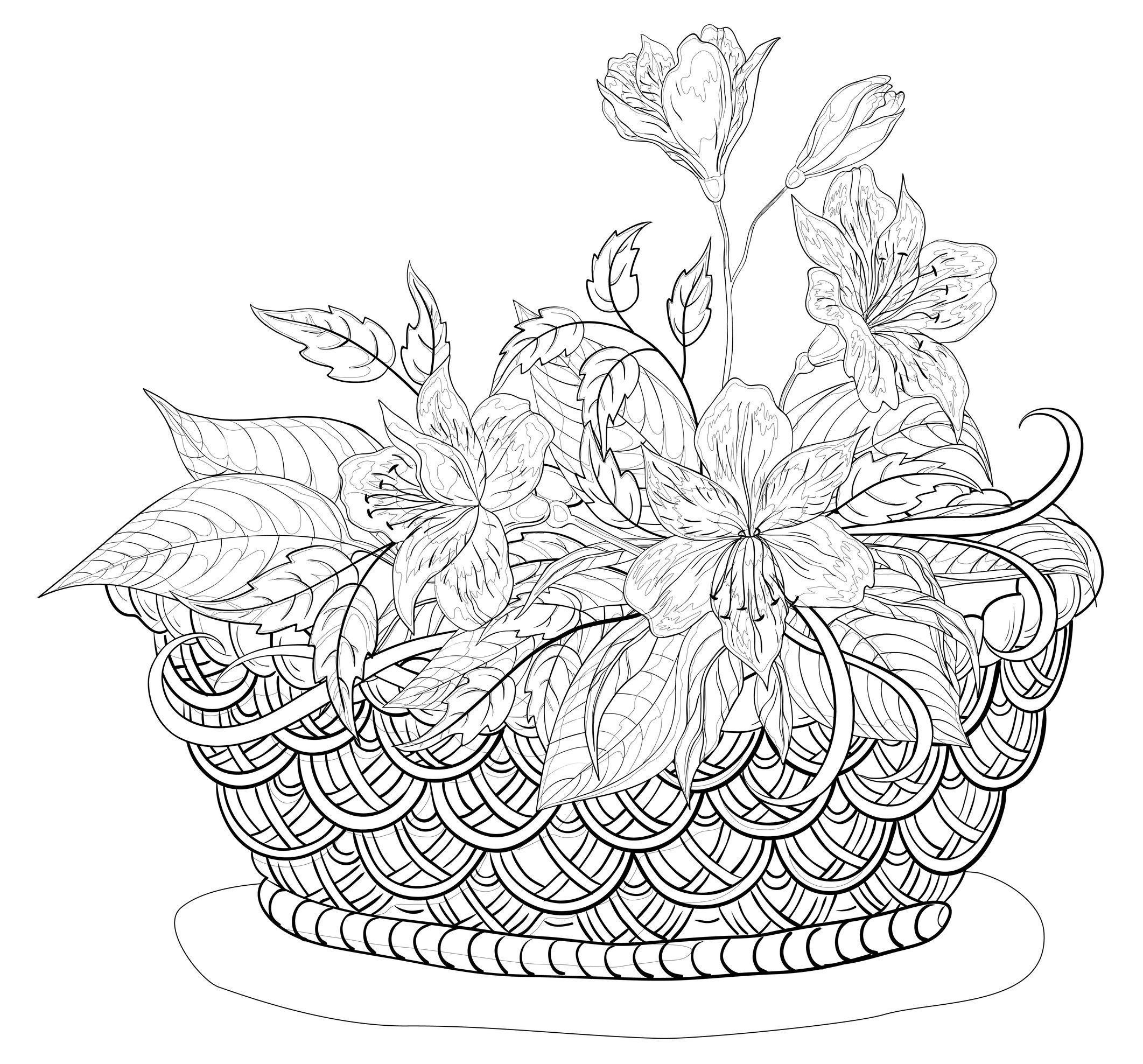 colorier fleurs panier automnal , Composition florale panier