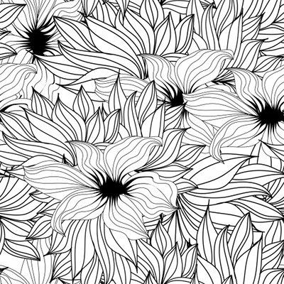 Coloriage de motif abstrait avec fleurs for Motif dessin