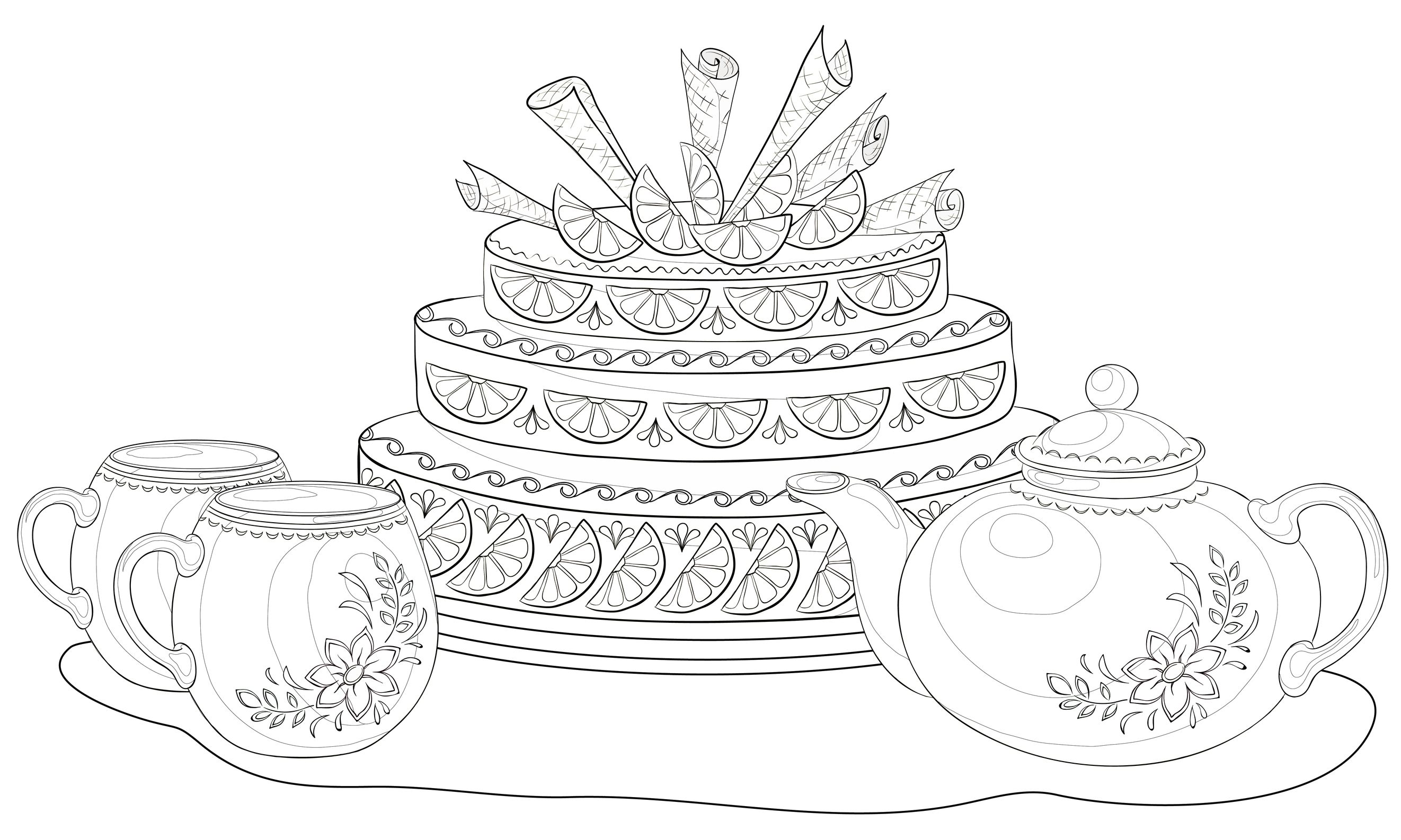 Coloriage Adulte Gateau