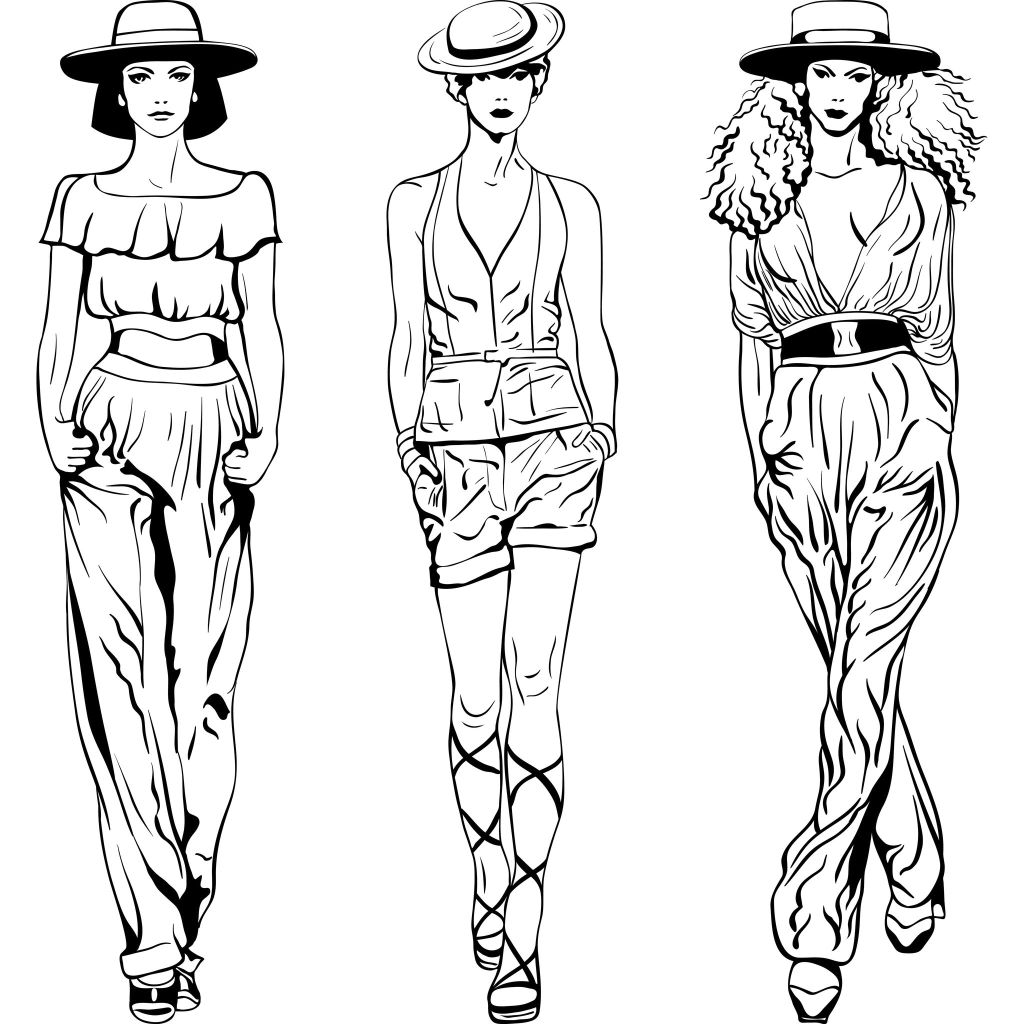 Line Art Fashion Design : Coloriage mode femme
