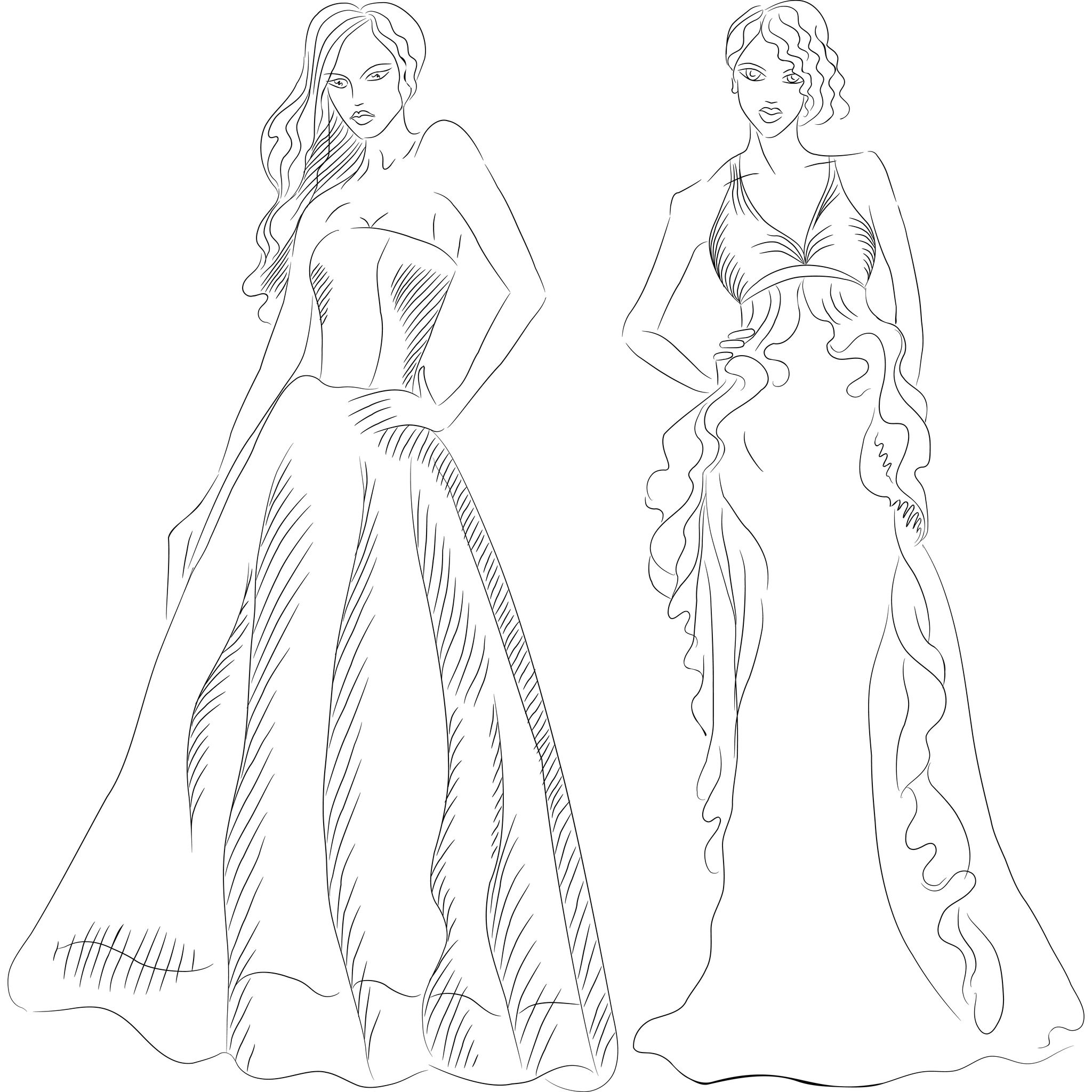 mode robe soiree coloriage