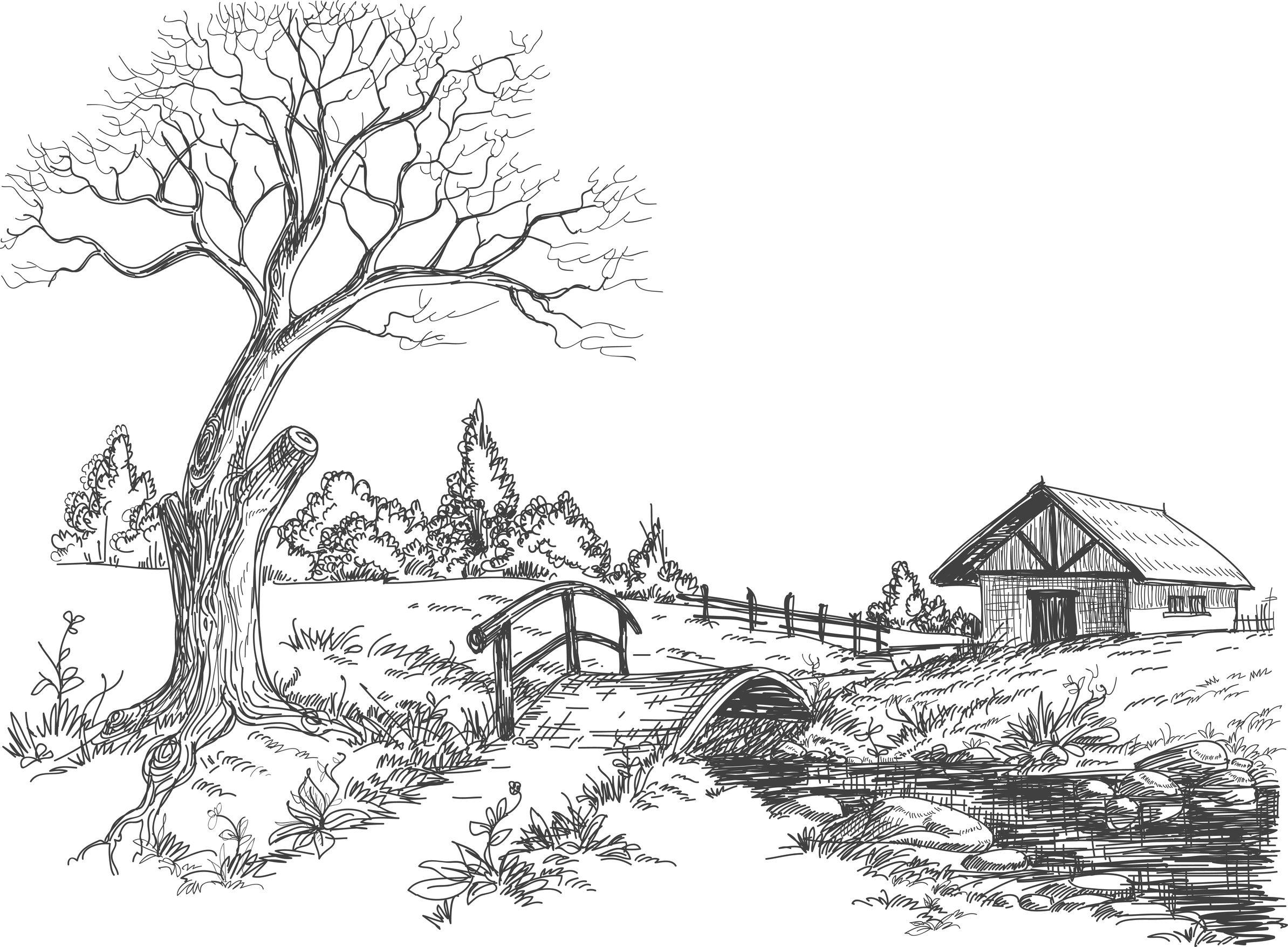 Coloriage paysage d 39 automne - Dessin maison de campagne ...