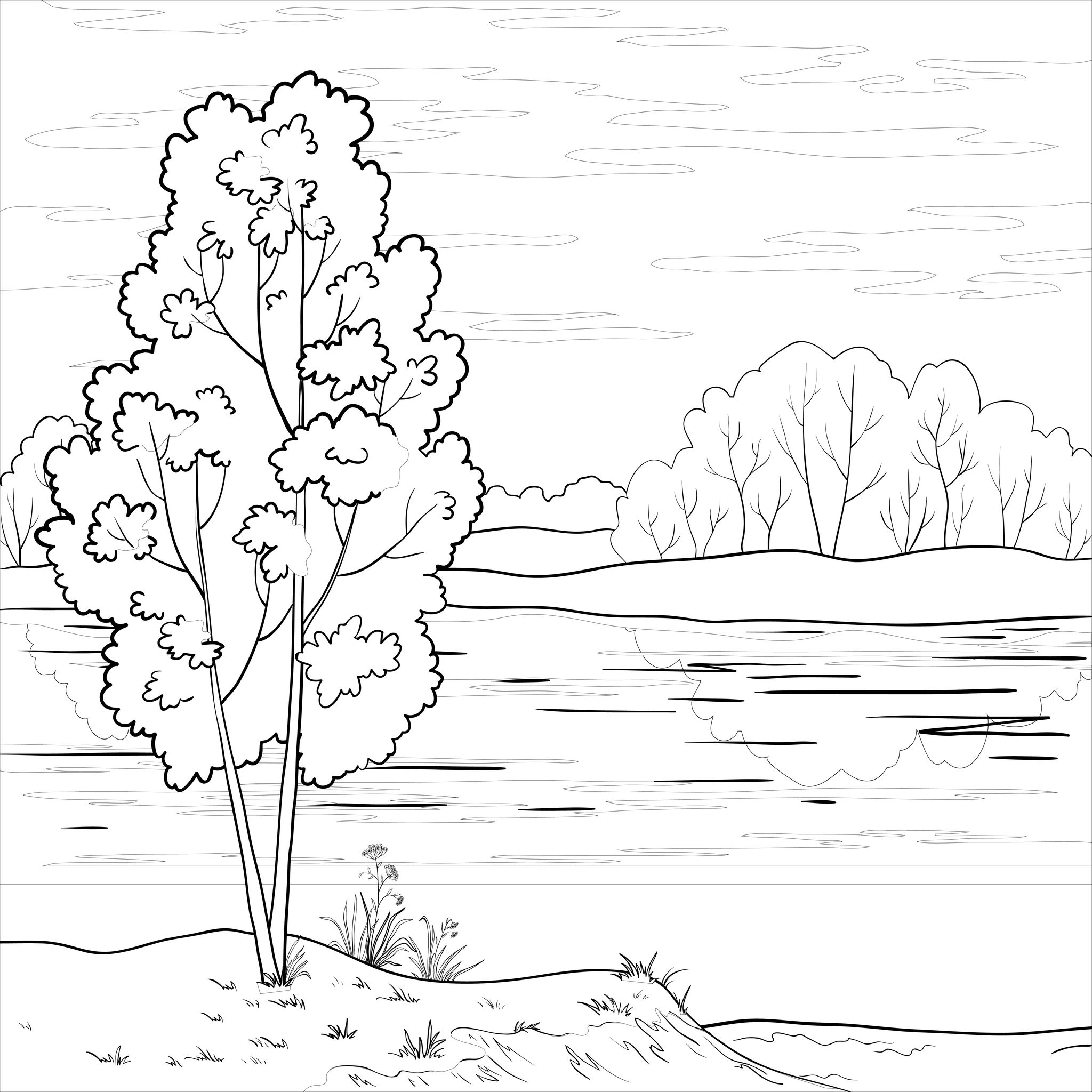 Coloriage de paysage et rivi re for River coloring pages