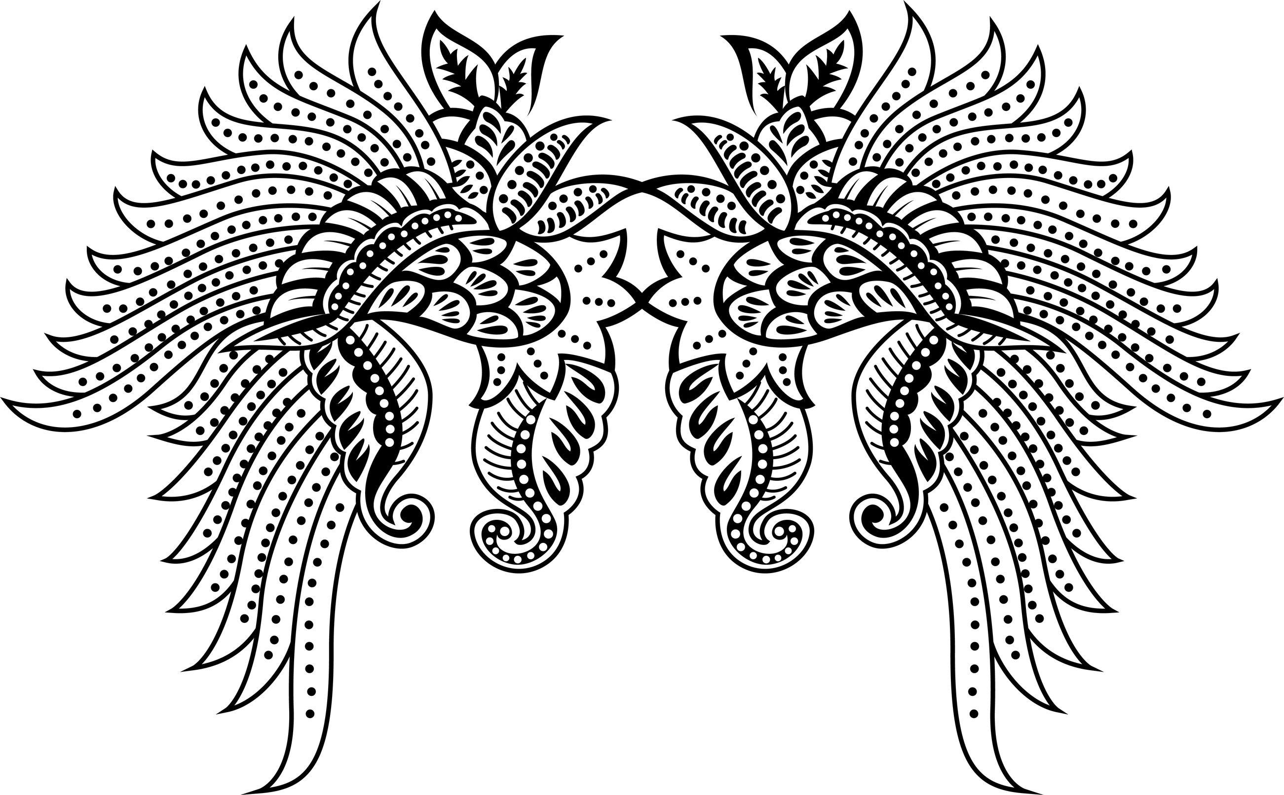 Coloriage de tatouage d ailes