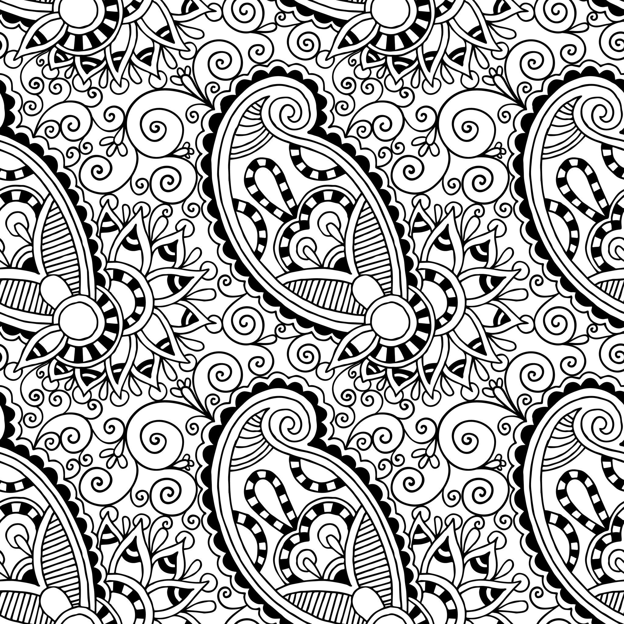 Coloriage aux motifs paisley for Motif dessin